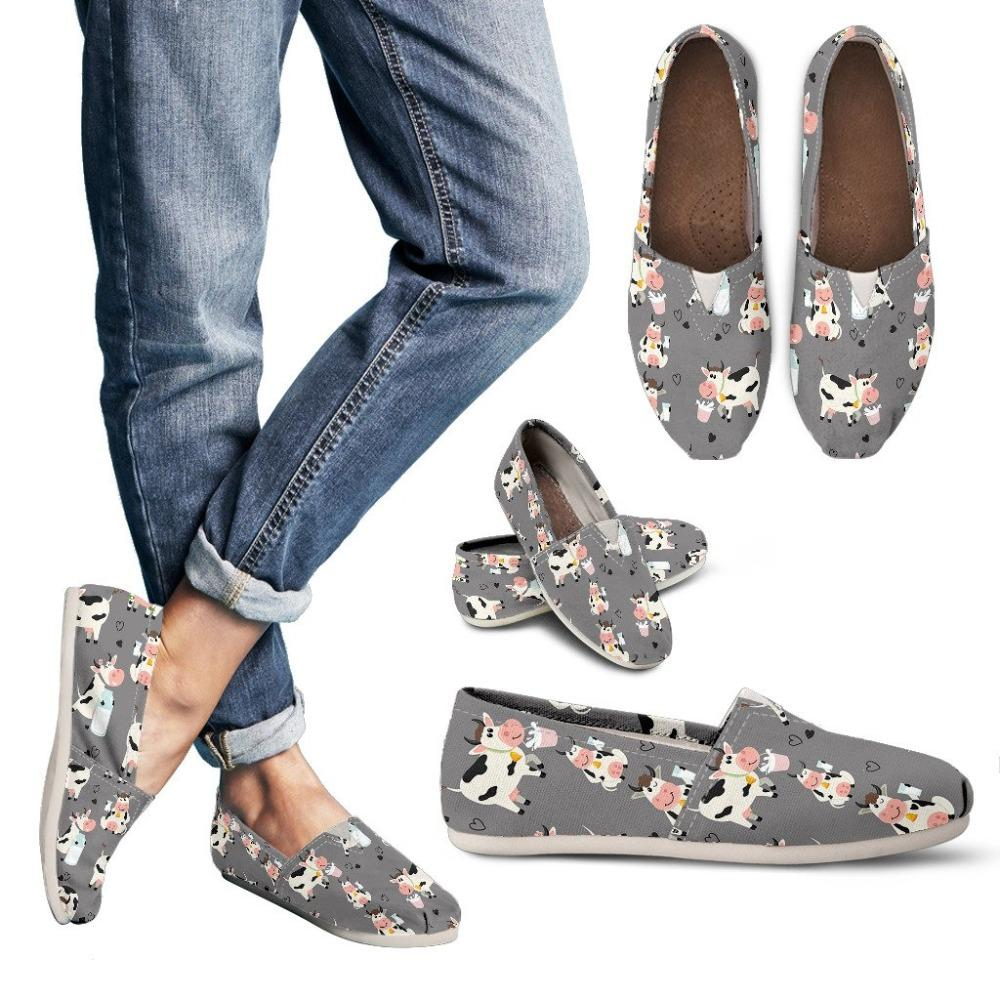 Cow Pattern And Milk Light Grey Casual Shoes