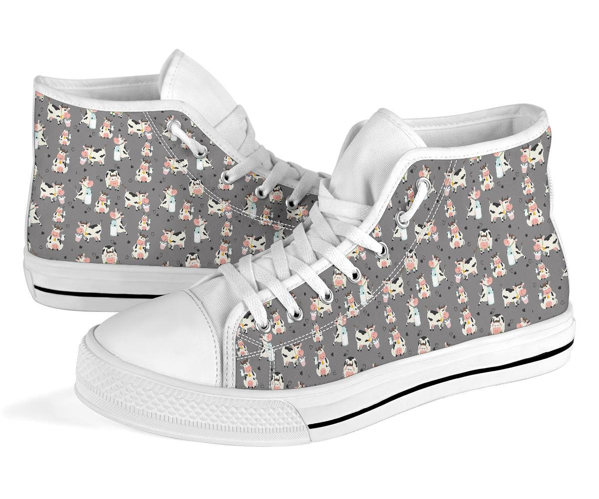 Cow Pattern And Milk Light Grey High Tops Canvas Shoes