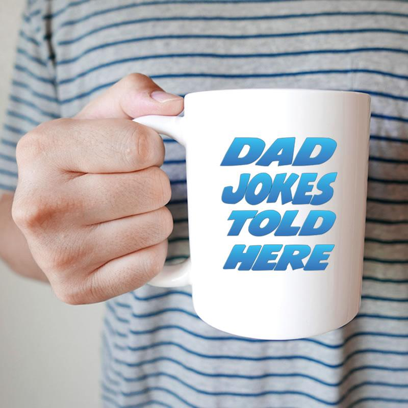 Dad Jokes Told Here White Coffee Mug - Snappy Creations