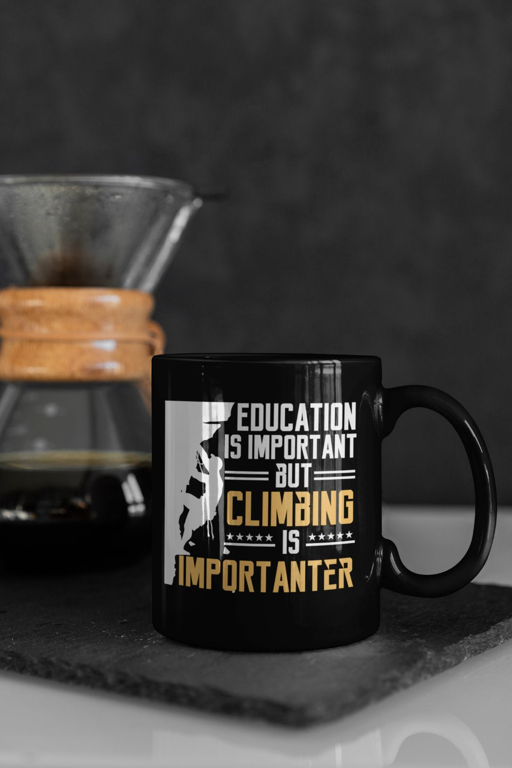 Education Is Important But Climbing Is Importanter Rock Climbing Coffee Mug