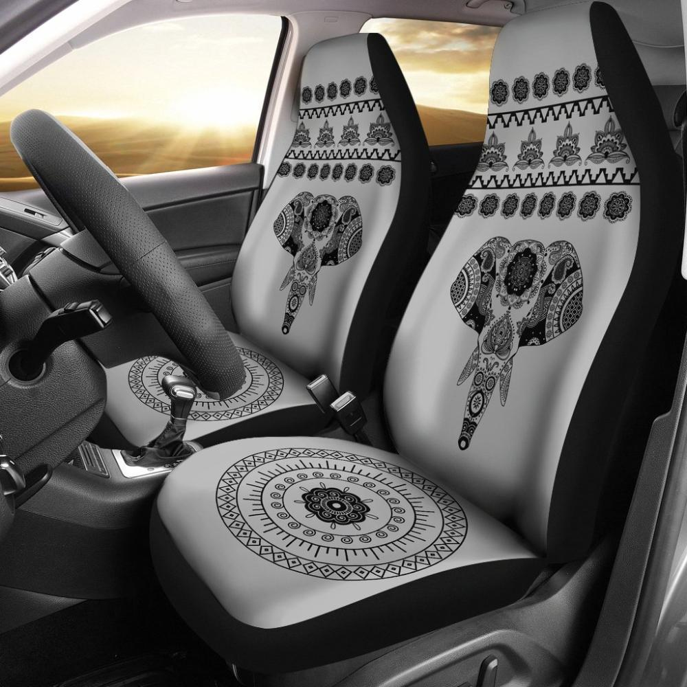 Elephant Car Seat Covers - Universal Fit Grey Elephant Mandala - Snappy Creations