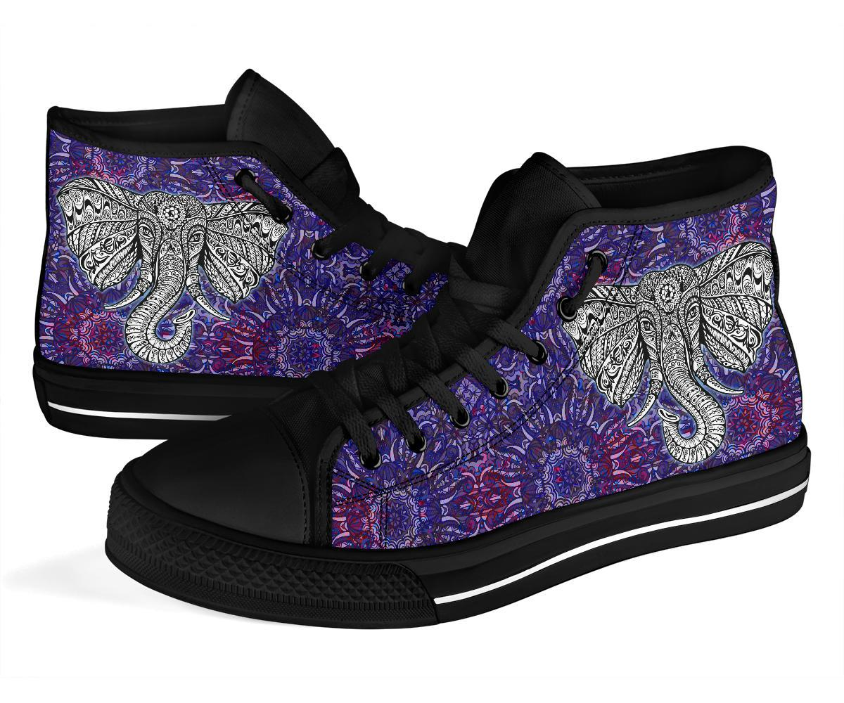 Elephant Mandala Purple Grey High Top Canvas Shoes Adult & Kid - Snappy Creations