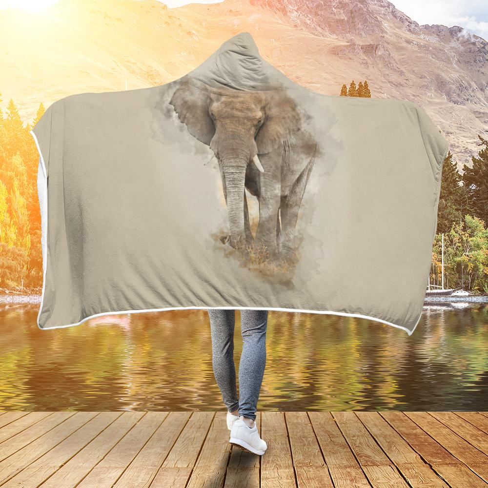 Elephant Water Paint Hooded Blanket - Snappy Creations
