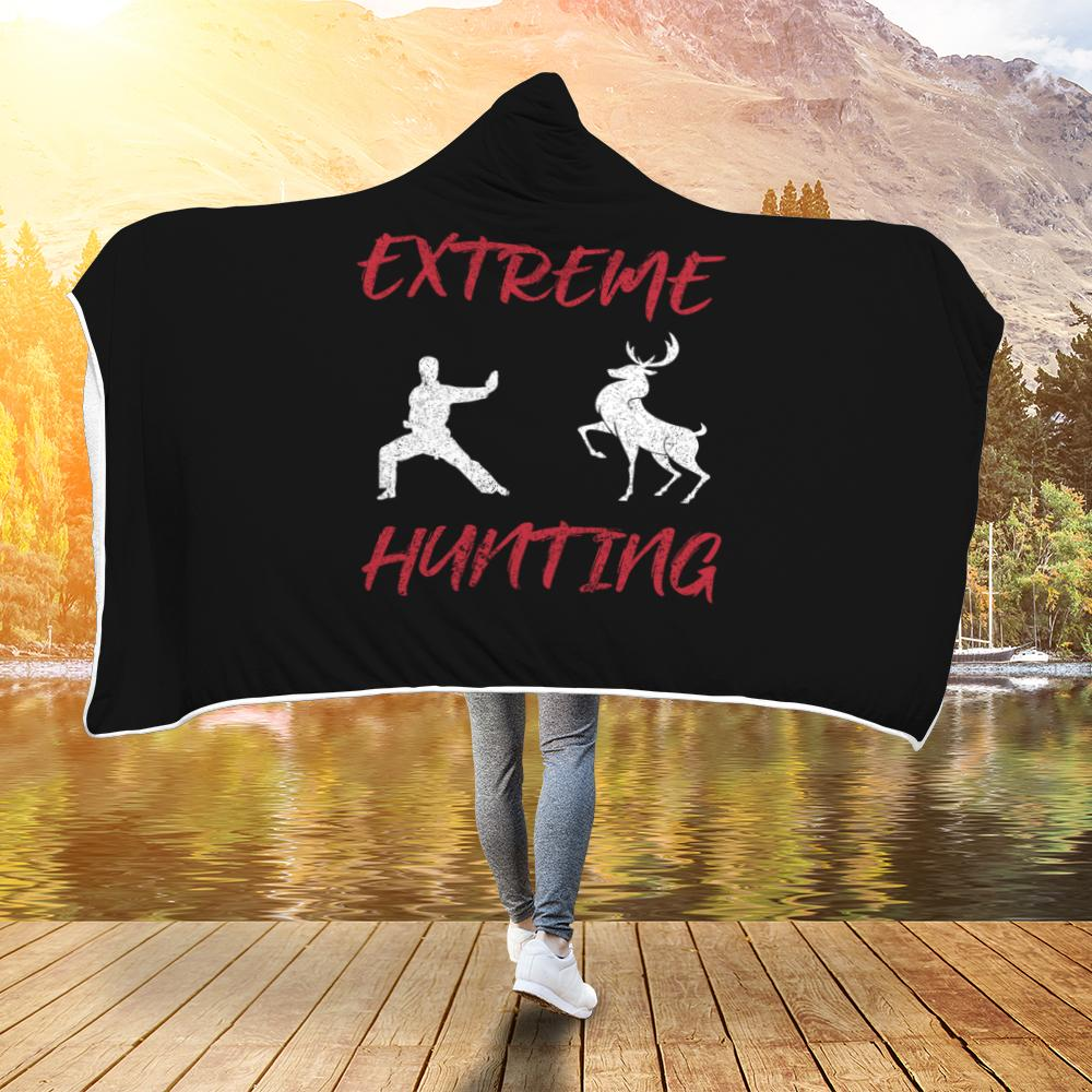 Extreme Hunting Funny Martial Arts Hooded Blanket