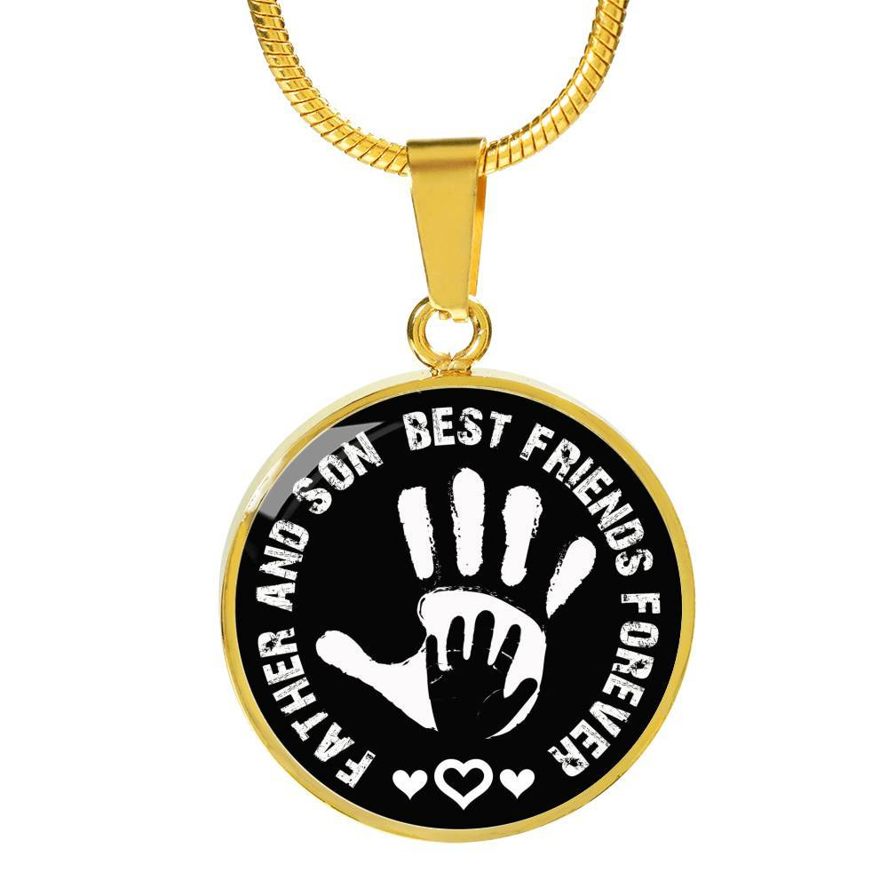 Father And Son Circle Pendant Necklace - Best Friends Forever - Snappy Creations