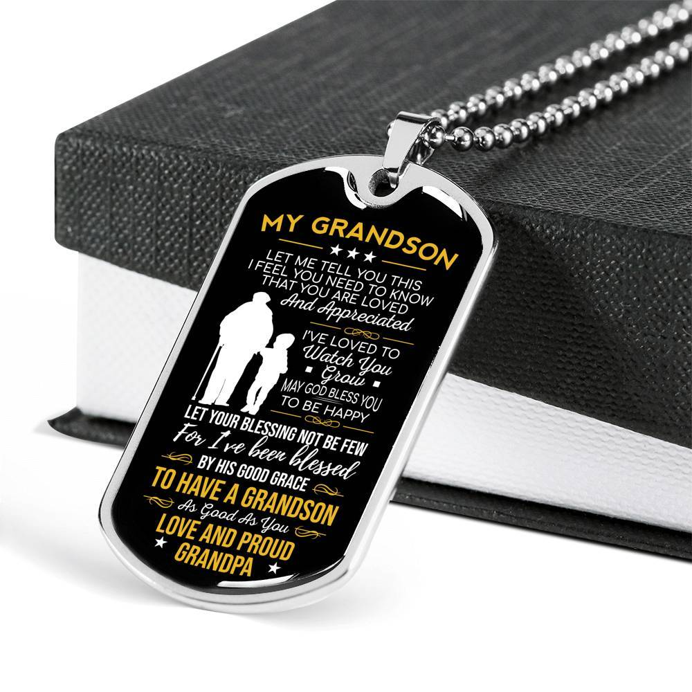 Grandson Inspirational Let Me Tell You This Grandpa Dog Tag Necklace - Snappy Creations