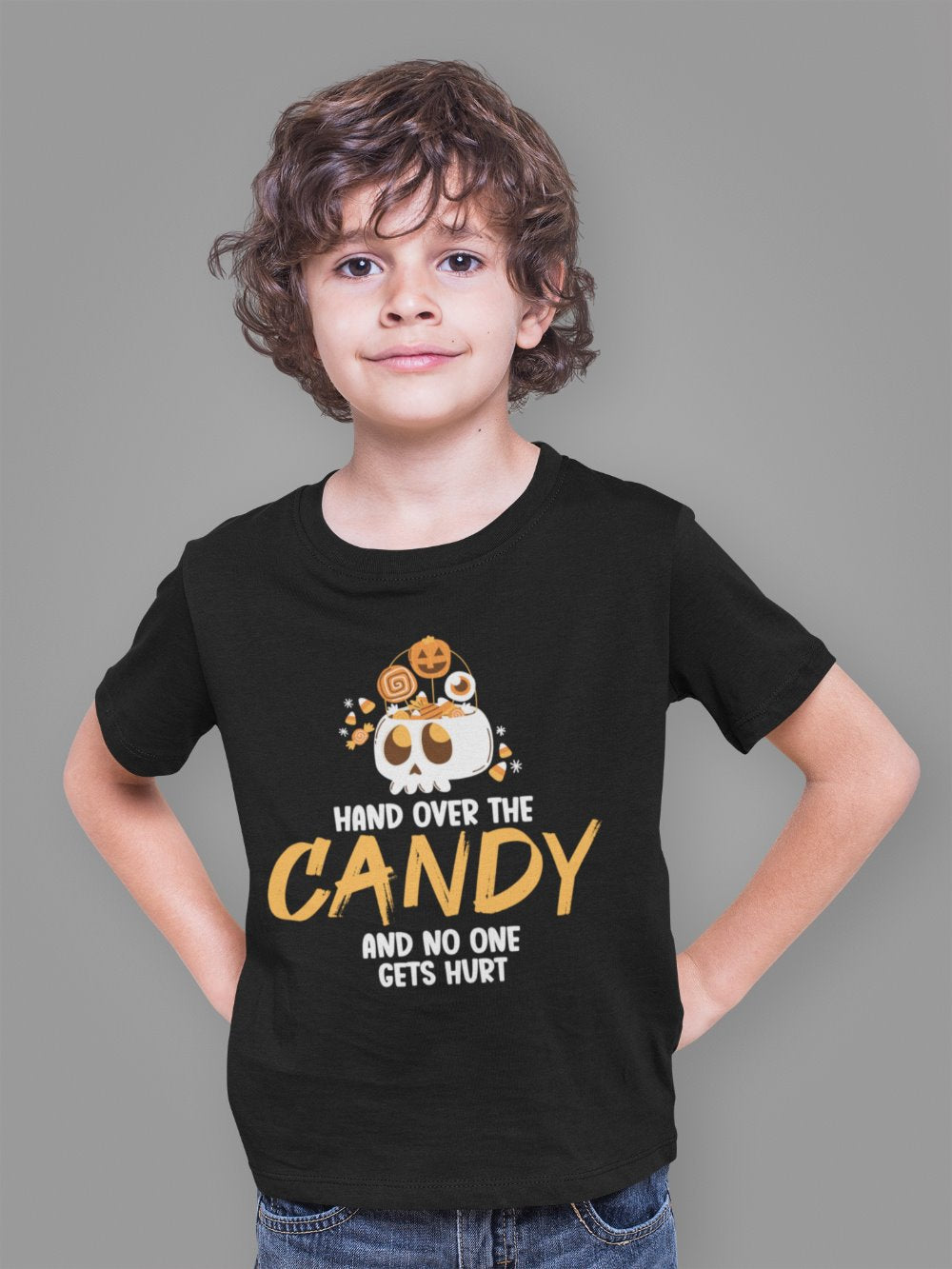 Hand Over The Candy And No One Gets Hurt Halloween Kids T-Shirt