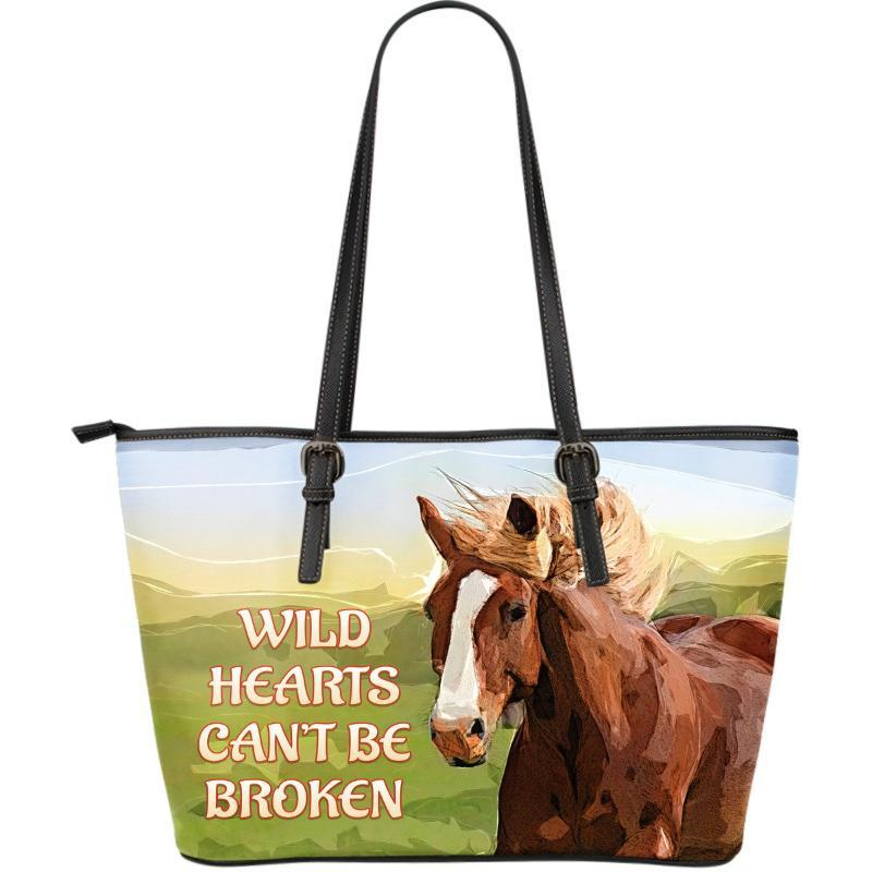Horses Premium Tote Bag With Quote - Wild Horse Large Leather Tote Bag