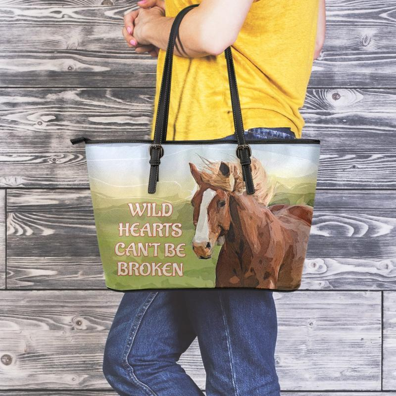 Wild Hearts Can't Be Broken Horse - Premium Large Leather Tote - Snappy Creations