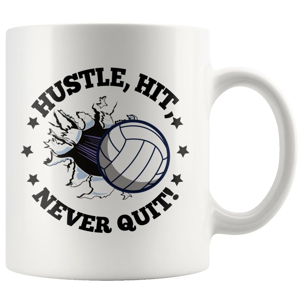 Hustle, Hit, Never Quit Coffee Volleyball Mug - Snappy Creations