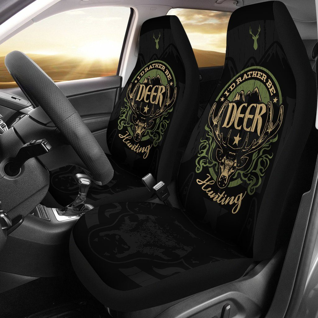 Hustle - I'd Rather Be Deer Hunting Universal Fit Car Seat Covers