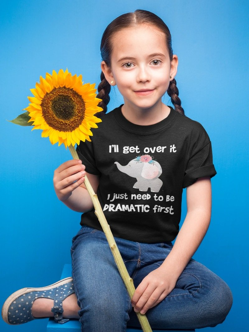 I'll Get Over It I Just Need To Be Dramatic First Grey White Elephant Funny Elephant Youth T-Shirt - Snappy Creations