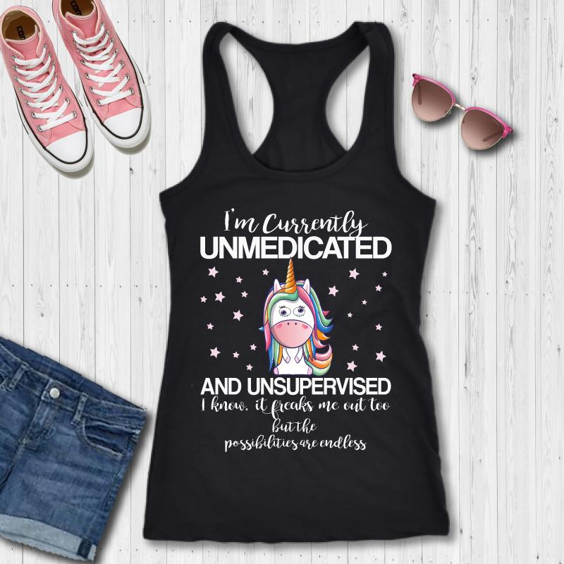 I'm Currently Unmedicated Rainbow Unicorn Funny Unicorn T-Shirt - Snappy Creations