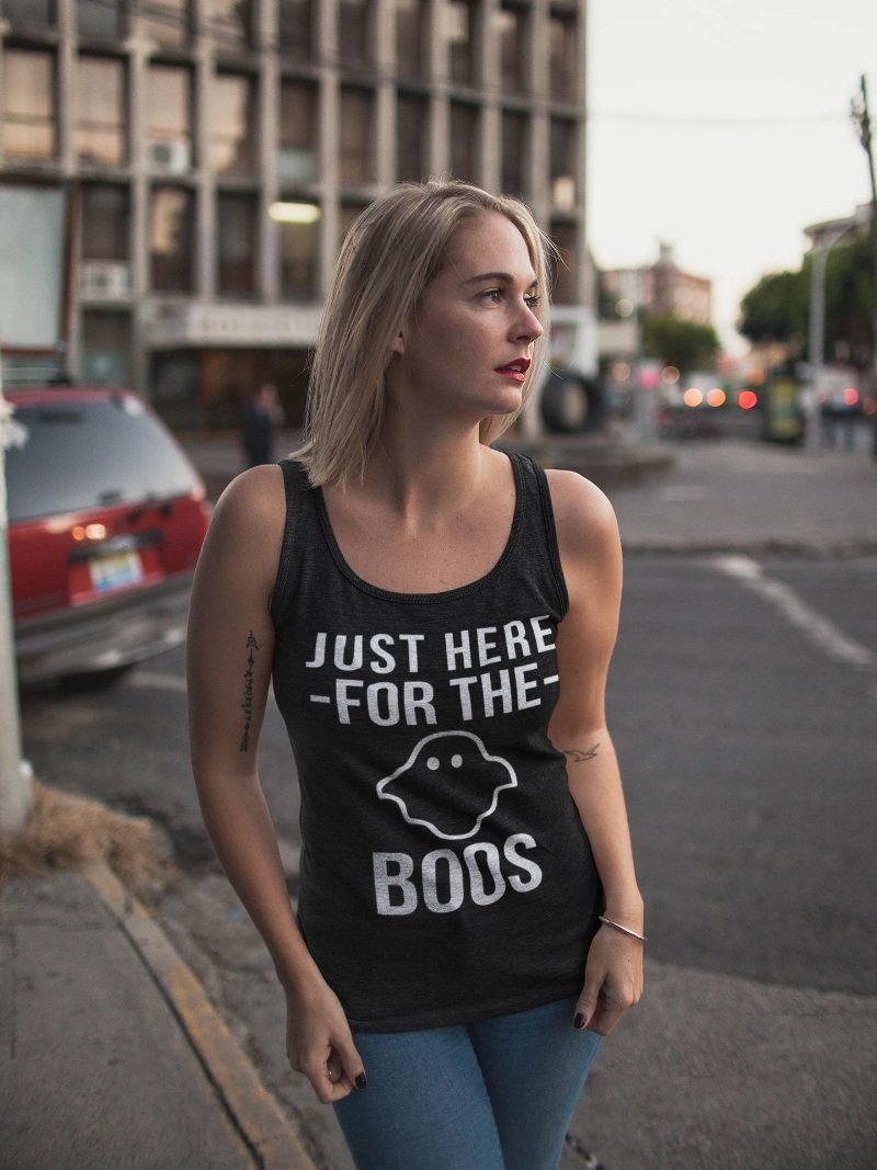 Just Here For The Boos Funny Halloween T-Shirt - Snappy Creations