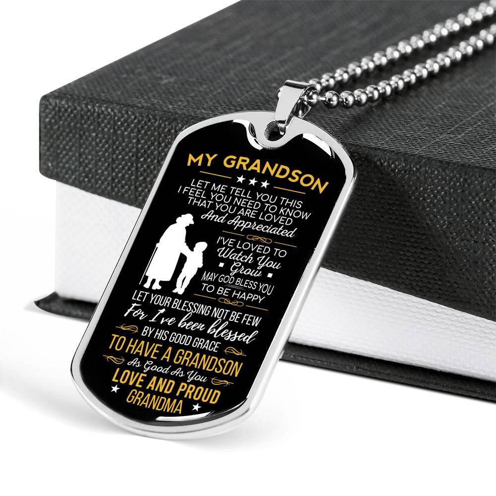 My Grandson Let Me Tell You This Love Grandma Dog Tag Necklace