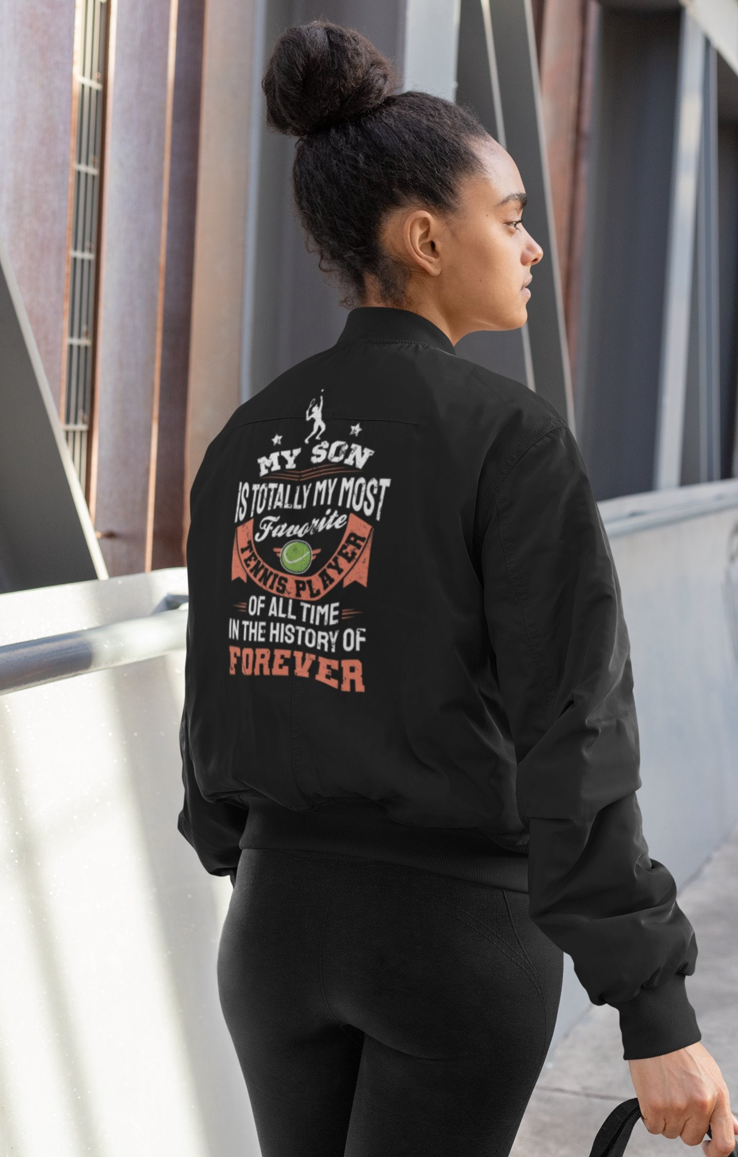 My Son Is Totally My Most Favorite Tennis Player Tennis Mom Women's Bomber Jacket
