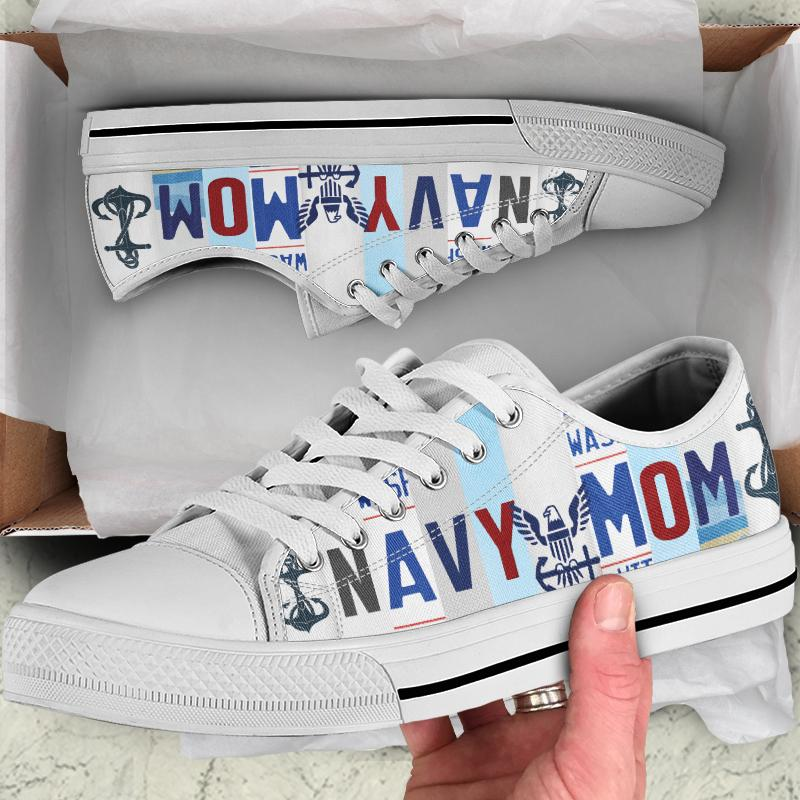 Navy Mom Women's Low Top Canvas Shoes - Snappy Creations