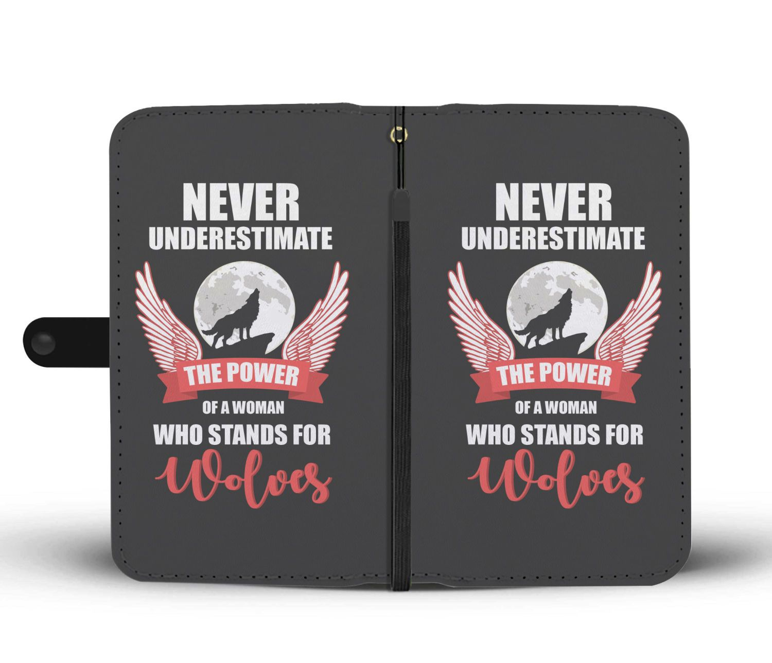 Never Underestimate A Woman Who Stands With Wolves Wallet Phone Case