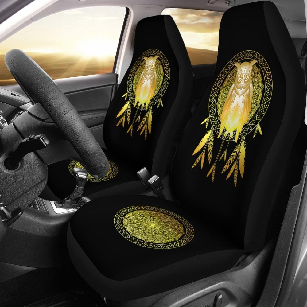 Owl Lovers - Owl Dream Catcher Car Seat Covers - Gold Owl Dream Catcher Universal Fit Car Seat Covers
