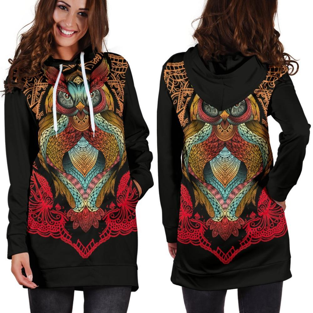Owl Lovers - Owl Hoodie Dress - Colorful Owl Design
