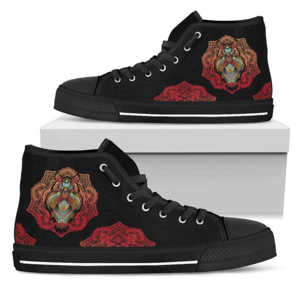 Owl Lovers - Owl Women's High Top Shoes - Colorful Owl Design