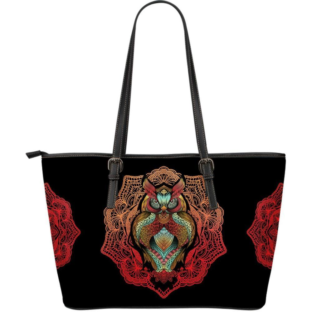 Owl Lovers - Owl Women's Large Leather Tote Bag - Colorful Owl Design Handbag