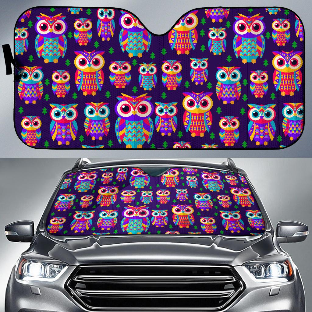 Owl Pattern Colorful Print Auto Car Sun Shade - Snappy Creations