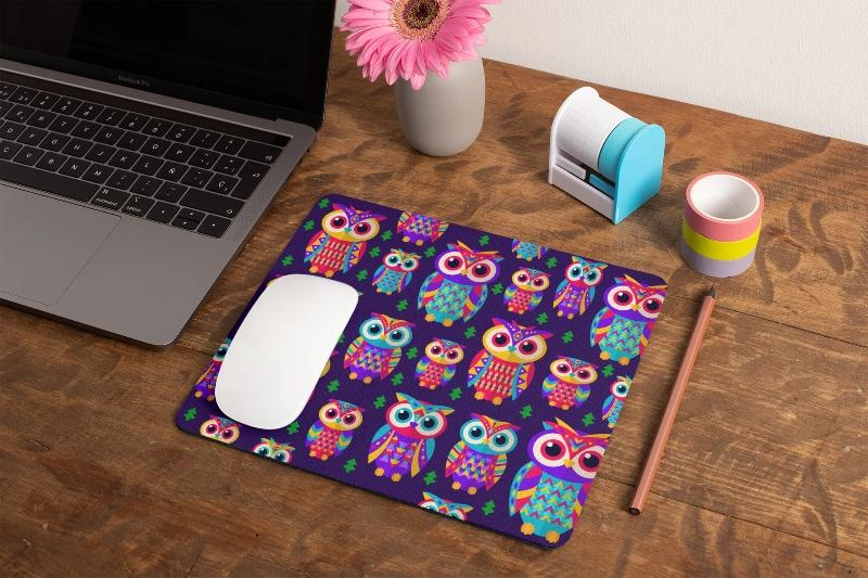 Owl Pattern Colorful Print Office Mouse Pad - Snappy Creations