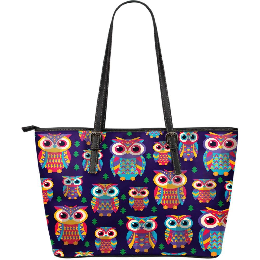 Owl Pattern Colorful Print Women's Large Leather Tote Bag - Snappy Creations