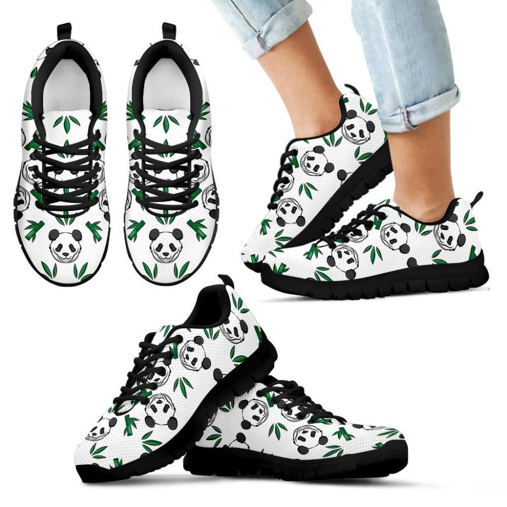 Panda Pattern With Bamboo Leaves Kid's Sneakers - Snappy Creations