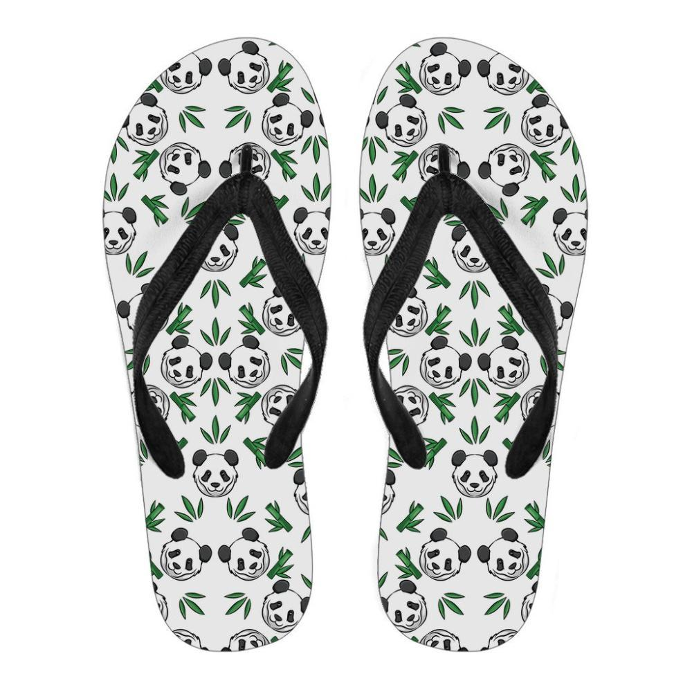Panda Lovers - Panda Women's Flip Flops - Panda Pattern With Bamboo Leaves