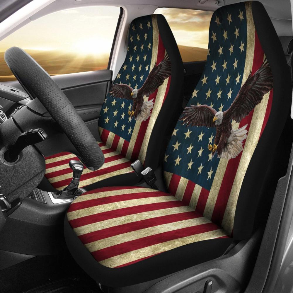 Police - American Flag With Eagle Universal Fit Car Seat Covers