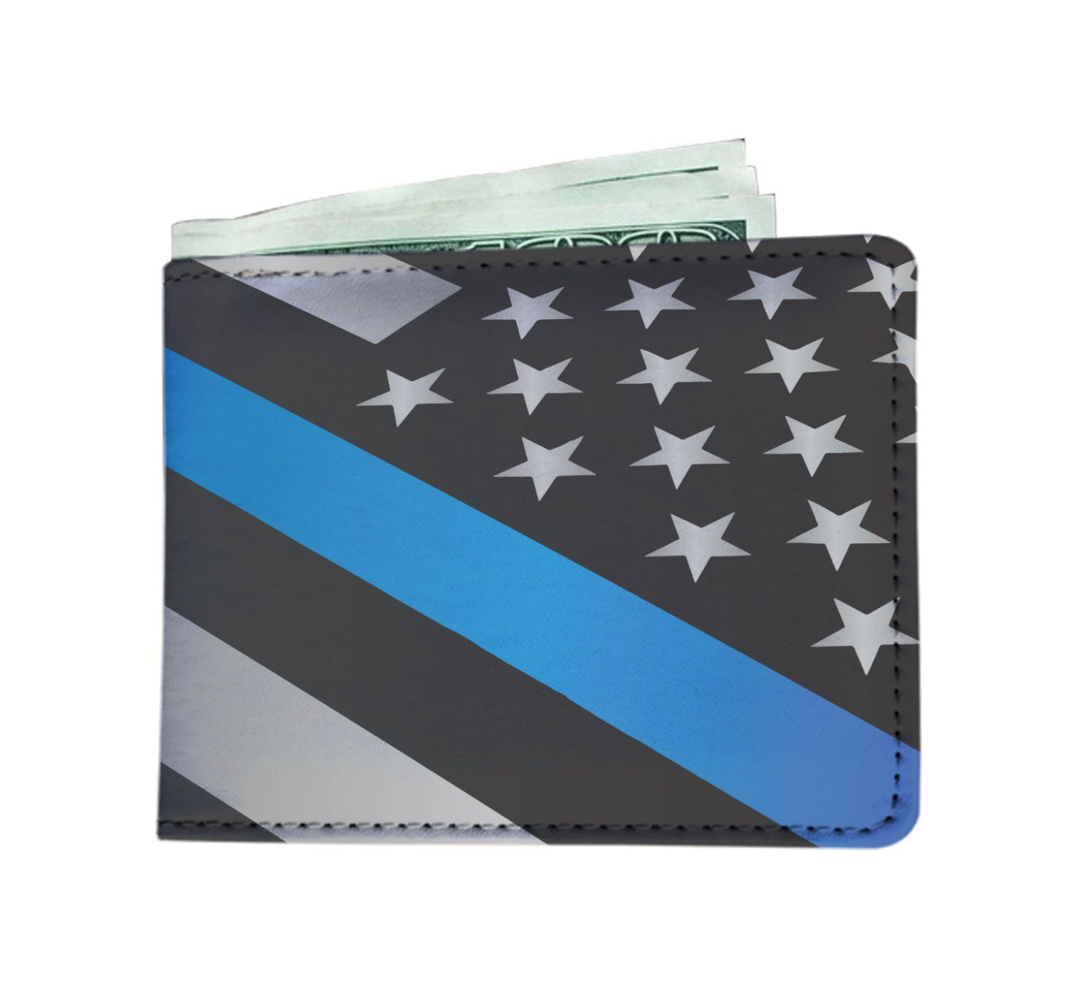Police - Thin Blue Line American Flag Police Print Custom Men's Leather Wallet