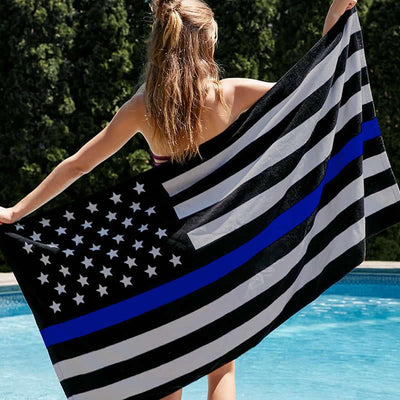 Thin Blue Line American Flag Police Premium Beach Towel
