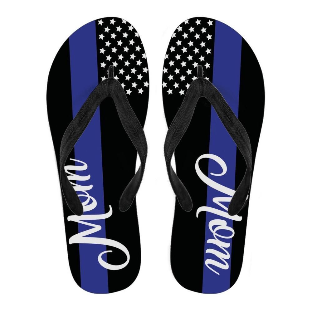 Police - Thin Blue Line Police Printed Flip Flops For Mom