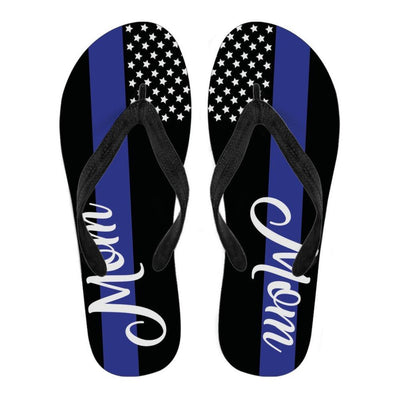 Thin Blue Line American Flag Mom Or Wife Flip Flops