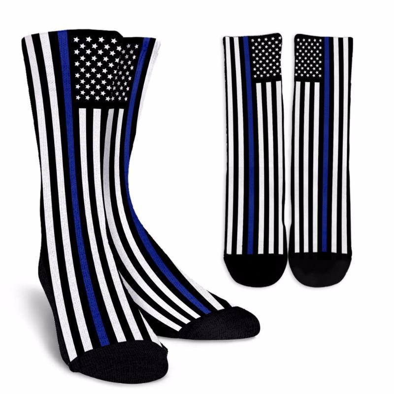 Thin Blue Line American Flag Police Dress Socks - Snappy Creations
