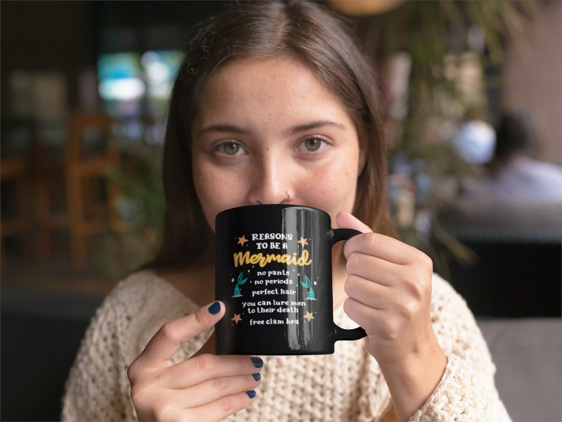 Reasons To Be A Mermaid Black Coffee Mug - Snappy Creations