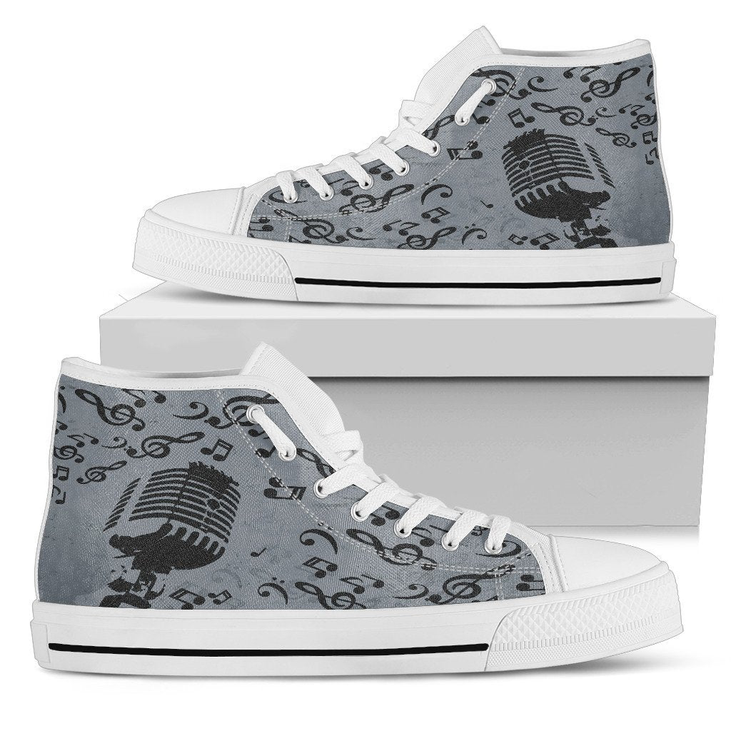 Singing Microphone Grey Canvas Music High Top Shoes - Snappy Creations