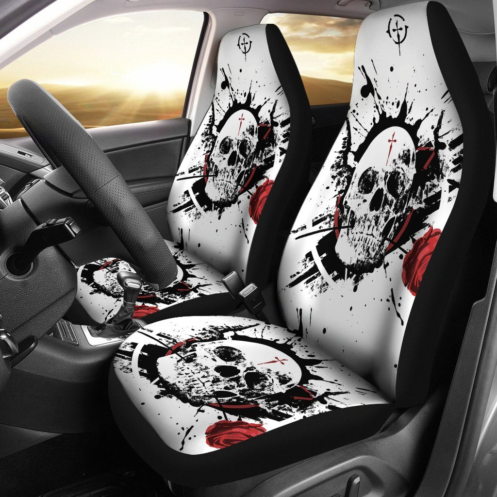 Skulls - Skull And Roses Universal Fit Car Seat Covers