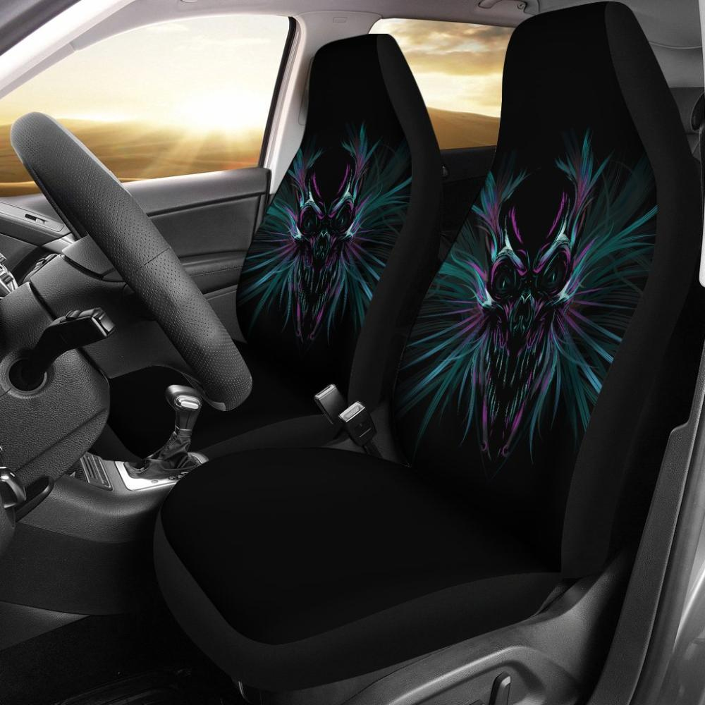 Skull Car Seat Covers - Universal Fit Colorful Black Purple Skull Covers - Snappy Creations
