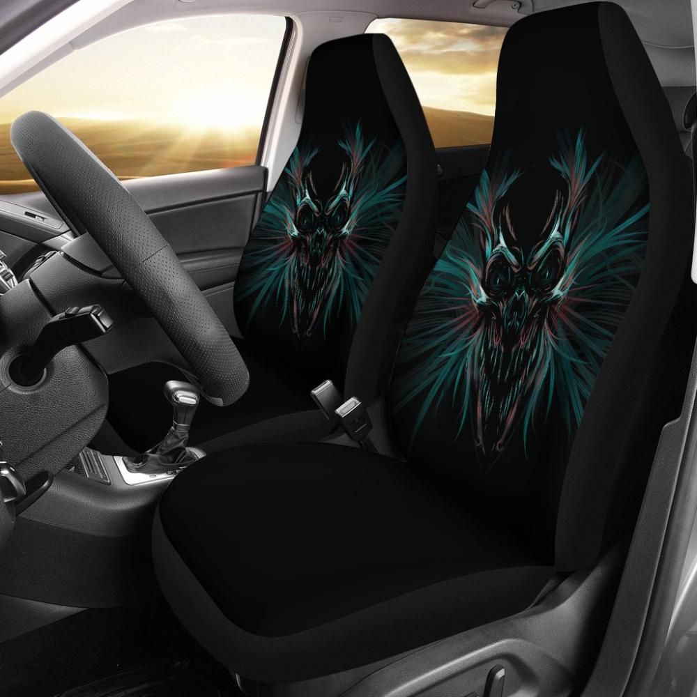 Skull Car Seat Covers - Colorful Black Orange Skull Universal Fit Covers - Snappy Creations