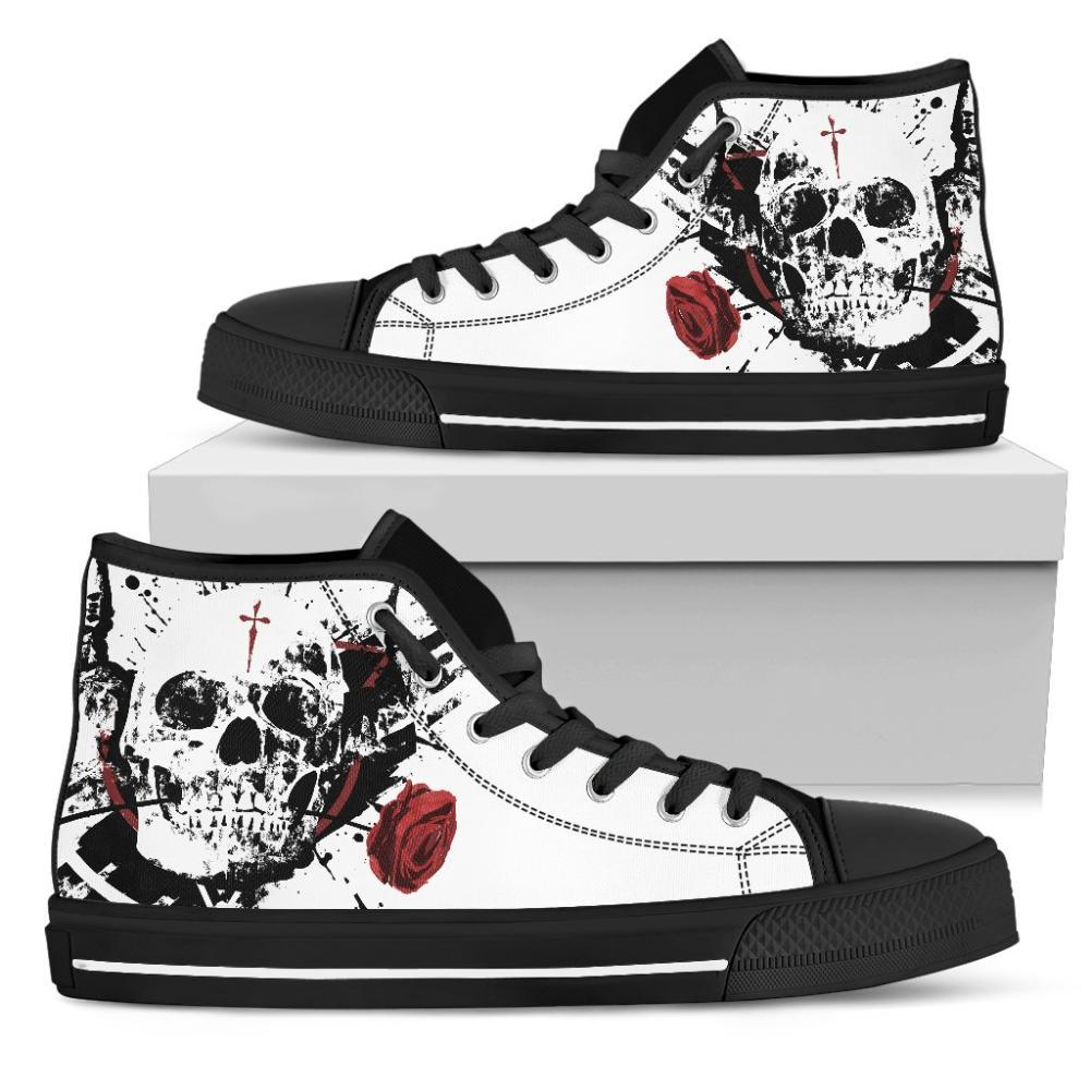 Skull And Rose Women's High Top Shoes - Snappy Creations