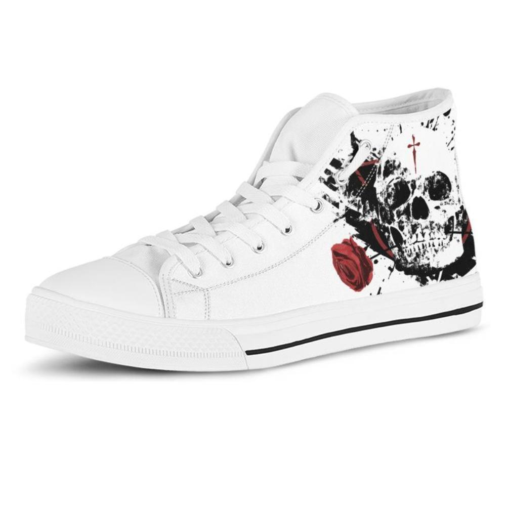 Skulls - Skull Shoes - Skull And Rose Women's High Top Shoes