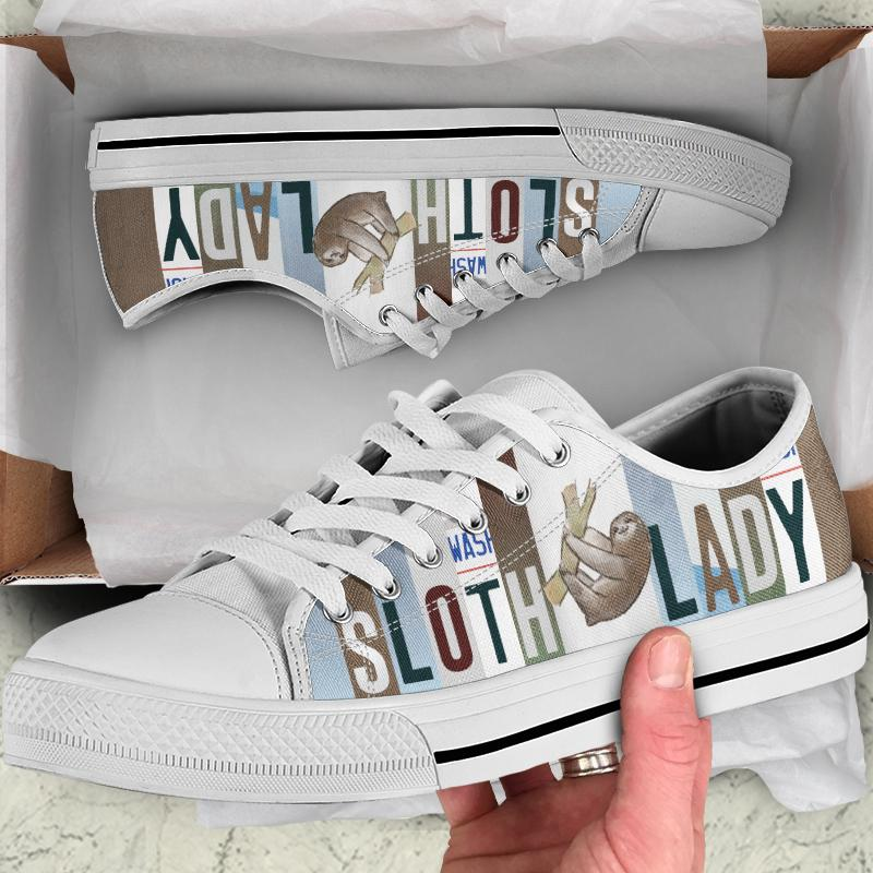 Sloth Lady Women's Low Top Canvas Shoes - Snappy Creations