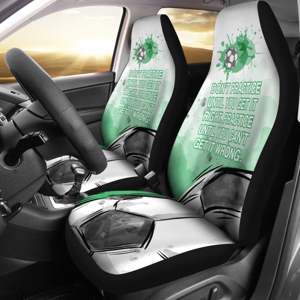Soccer Car Seat Covers Universal Fit With Quote - Practice Until You Can't Get It Wrong