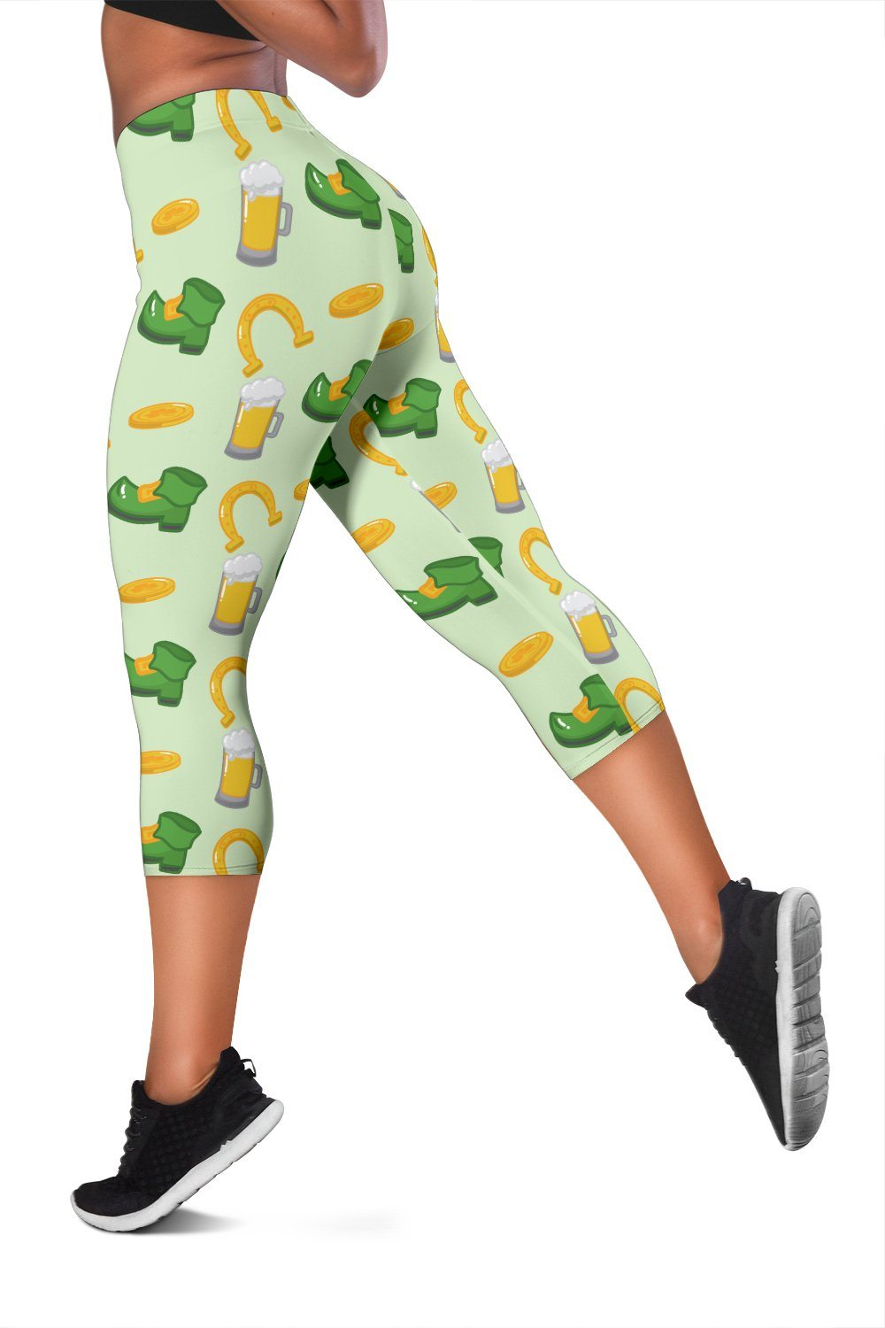 St Patrick's Day Horseshoe, Boots, Beer Pattern Print Workout Capris - Snappy Creations