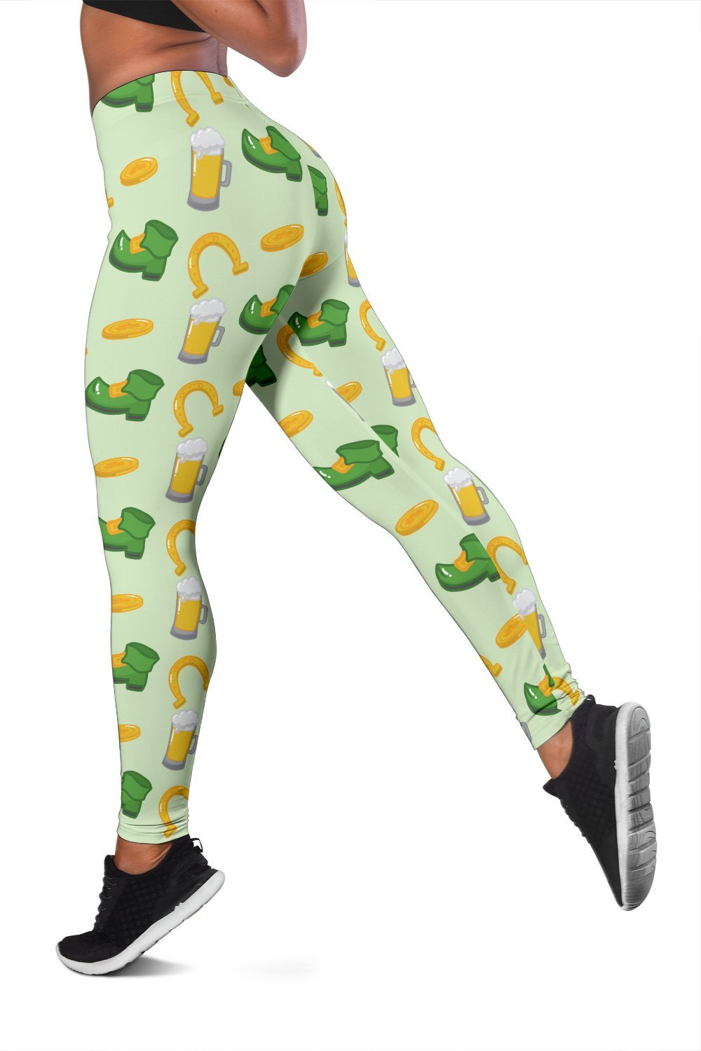 St. Patrick's Day Horseshoe, Boots, Beer Pattern Print Workout Leggings - Snappy Creations