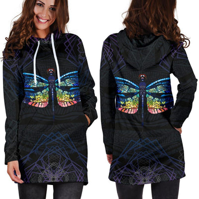 Colorful Dragonfly Print Hoodie Dress