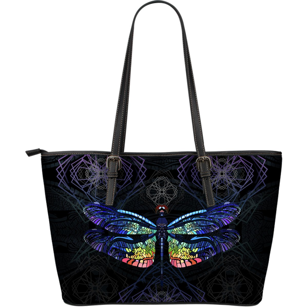 Colorful Dragonfly Print Large Leather Tote Bag